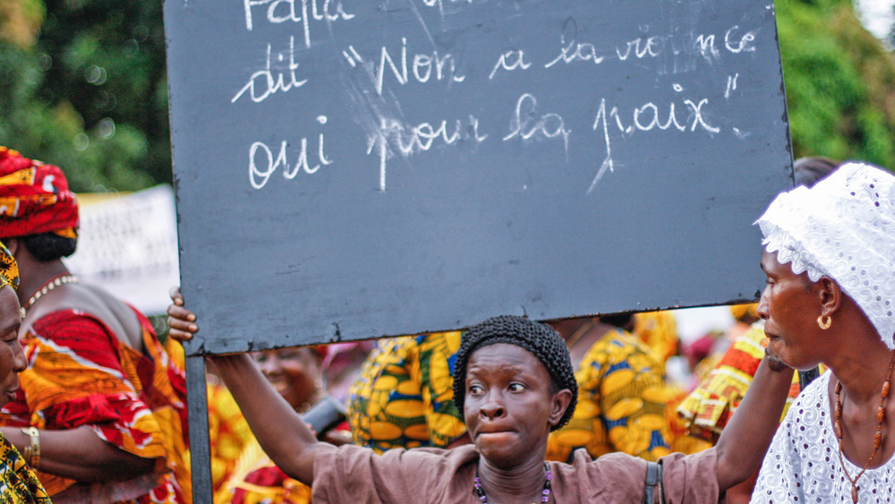 A pro-Condé rally in Guinea's capital Conakry. Political unrest has intensified recently
