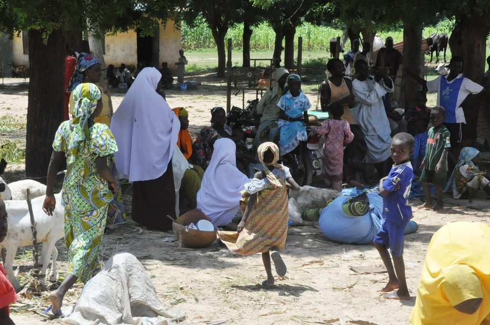 Displaced fulani pastoralists who have fled violence in Kaduna state and are currently sheltering in a primary school in Birnin Gwari