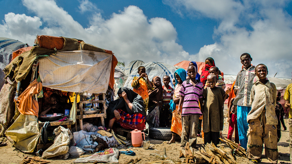 A family of refugees in an IDP camp near Mogadishu airport (March 2013)