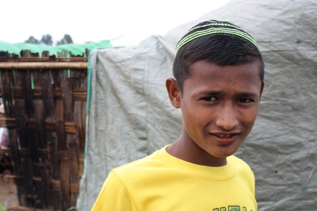 A Rohingya boy at an IDP outside Sittwe. More than 140,000 people were displaced following sectarian violence in Myanmar's western Rakhine State