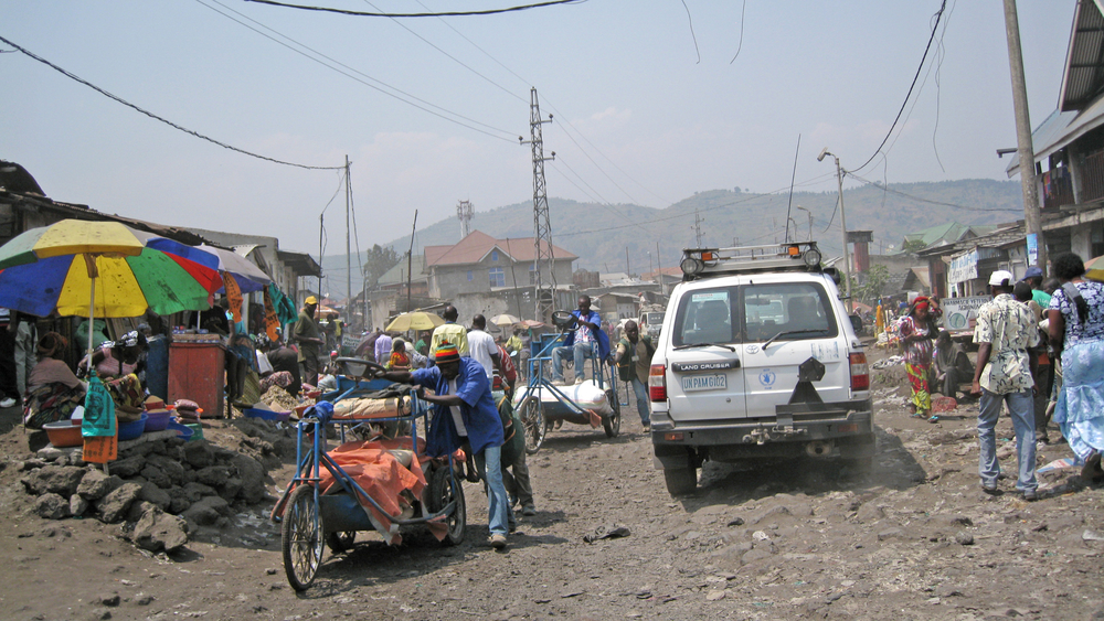 A market street in Goma, the capital of the Congolese eastern province of North Kivu