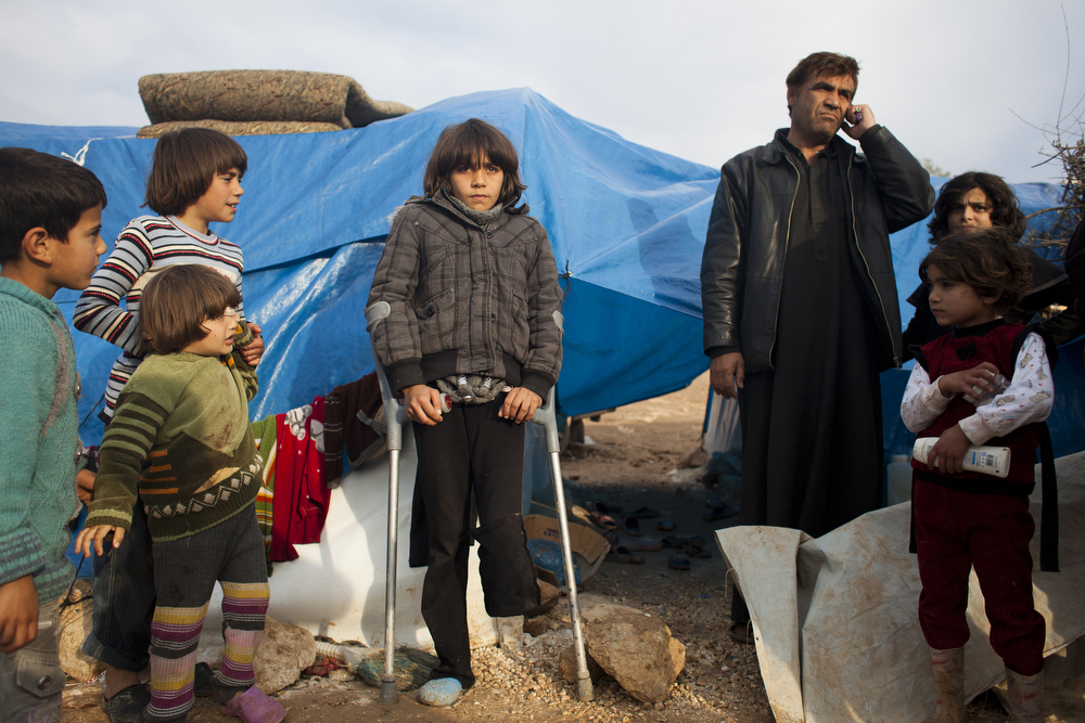 A make-shift camp for displaced people in Qah, in opposition-controlled northern Syria