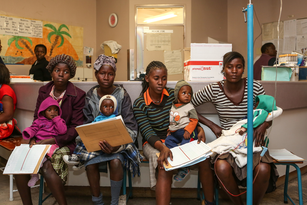 Mothers with their malnourished children at Engela District Hospital in northern Namibia's Ohangwena Region. There has been an increase in admissions for acute malnutrition following two years of drought