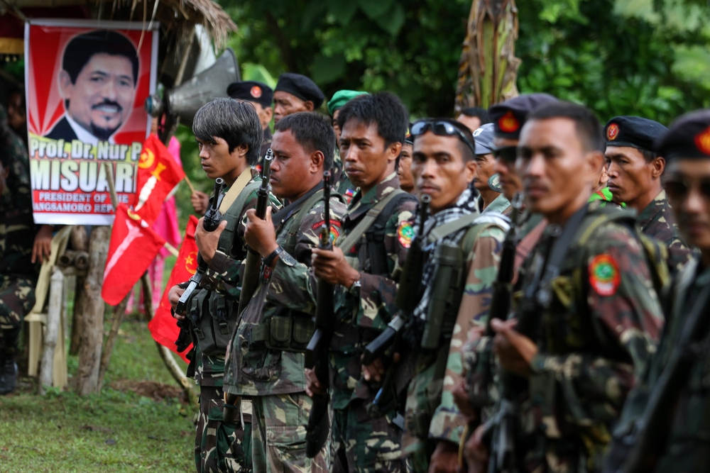 Maguindanao, Philippines - Loyal followers of Moro National Liberation Front (MNLF) rebel leader Nur Misuari turn up during a gathering in the southern Mindanao island to coincide with a declaration they will again fight for independence.Misuari's photogr