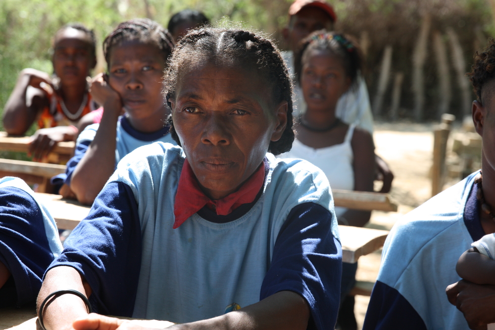 Marie Louise at an adult literacy class in her village near Toliara in southern Madagascar
