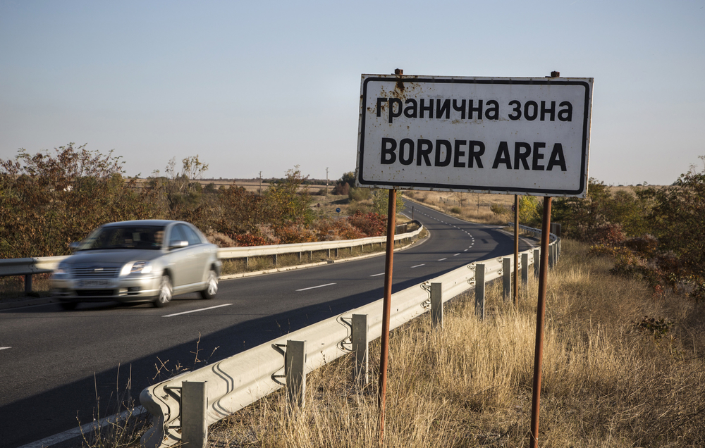 Near Lesovo, Bulgaria, a sign marks the area near the border with Turkey which in recent months has seen a marked increase in the number of migrants and asylum seekers crossing into the EU