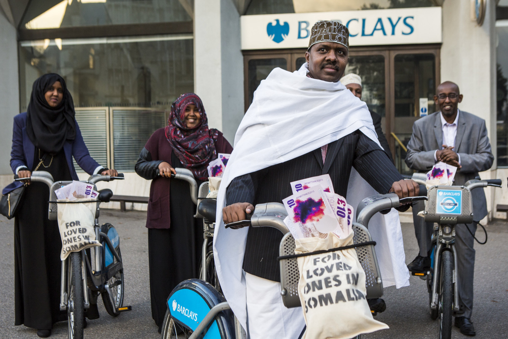 Protestors outside a branch of Barclays called for the bank to reverse its closure of an account held by Dahabshiil, the biggest company remitting money from the UK to Somalia