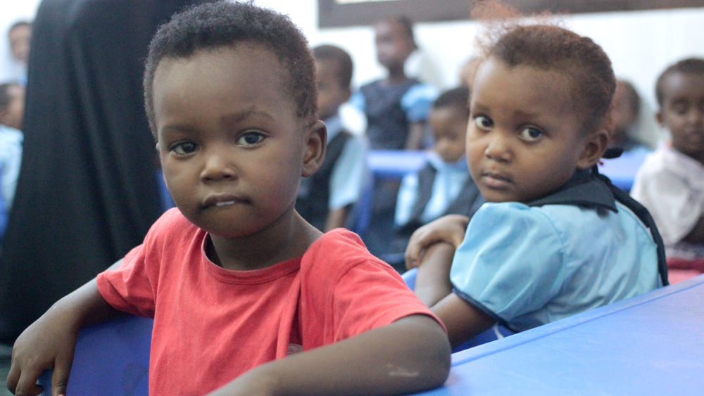Somali refugee children at a kindergarten run by an NGO in the Basateen district of Aden in southern Yemen (September 2013)