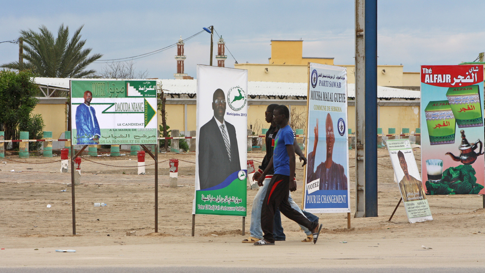 Campaign posters for candidates running in 23rd November local and general elections, in Nouakchott's Sebkha neighbourhood.
