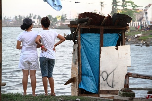 A makeshift latrine outside an evacuation centre in Tacloban. Heath authorities cite an increase in levels of open defecation in the aftermath of Typhoon Haiyan on 8 November 2013, which left more than 4 million displaced