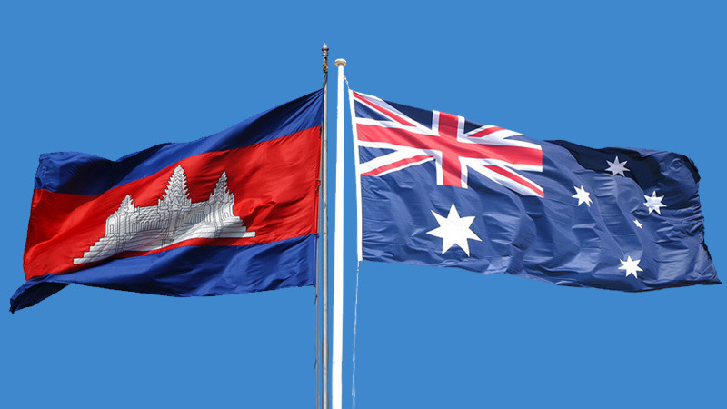 Cambodia and Australia flags