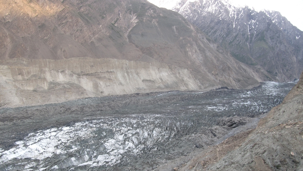 The rapidly melting Hopar Glacier in the Nagar Valley of Pakistan.