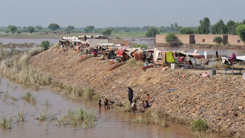 Temporary respite from the waters for flood-affected on a barrier close to River Chenab, Jhang District.