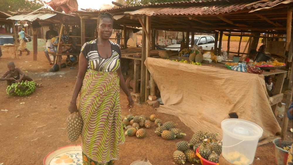 Krubo Kollie returns to Bo-Waterside Market in Liberia to sell fruit, for the first time since the Ebola outbreak began, following the reopening of the border with neighboring Sierra Leone.