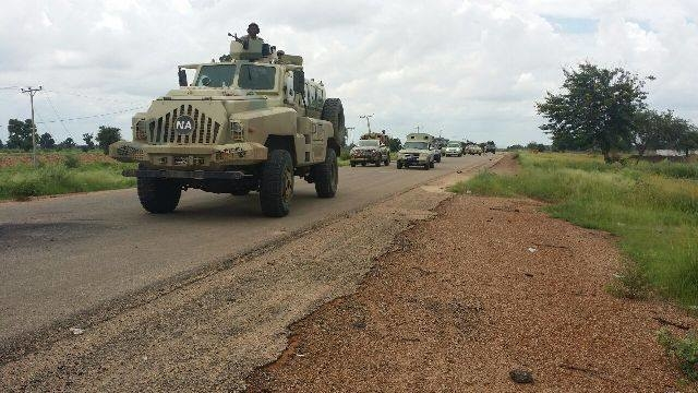 Nigerian troops in convoy, northeast Nigeria