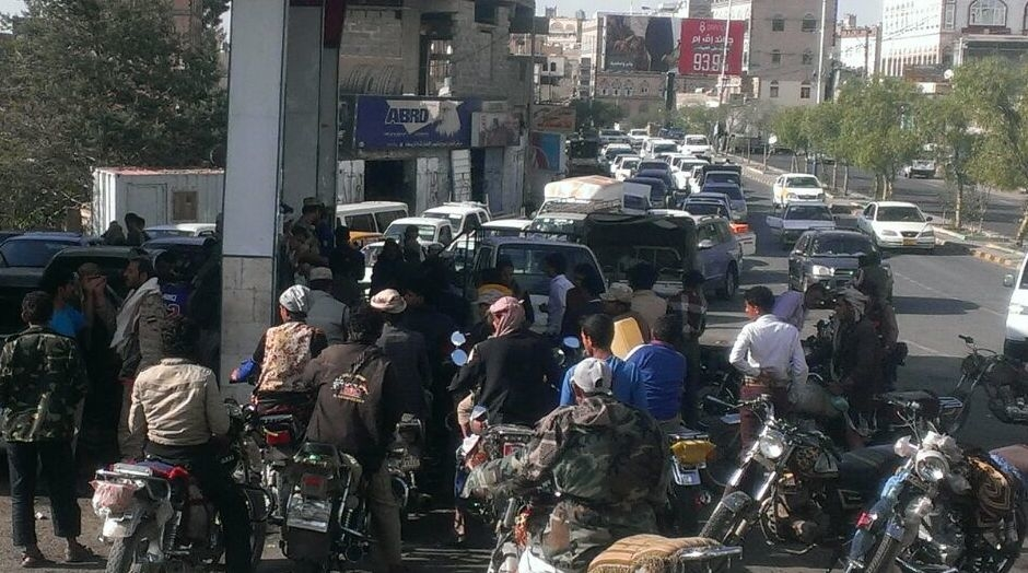 Yemenis queue to buy petrol in the capital Sana'a on April 1, 2015