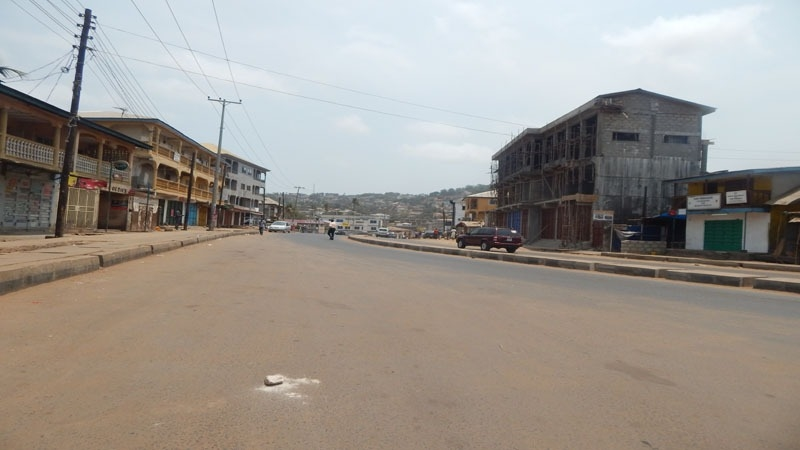 "Western Freetown's Lumley neighbourhood, normally bustling with activity, is deserted during a three-day ""stay-at-home"" Zero Ebola Campaign, in March 2015, as officials try to bring an end to the Ebola outbreak."