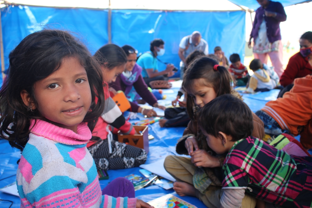 "Displaced children in a a"" child-friendly centre"" run by UNICEF within one of the many camps set up after Nepal experienced a powerful earthquake on 25 April, 2015"