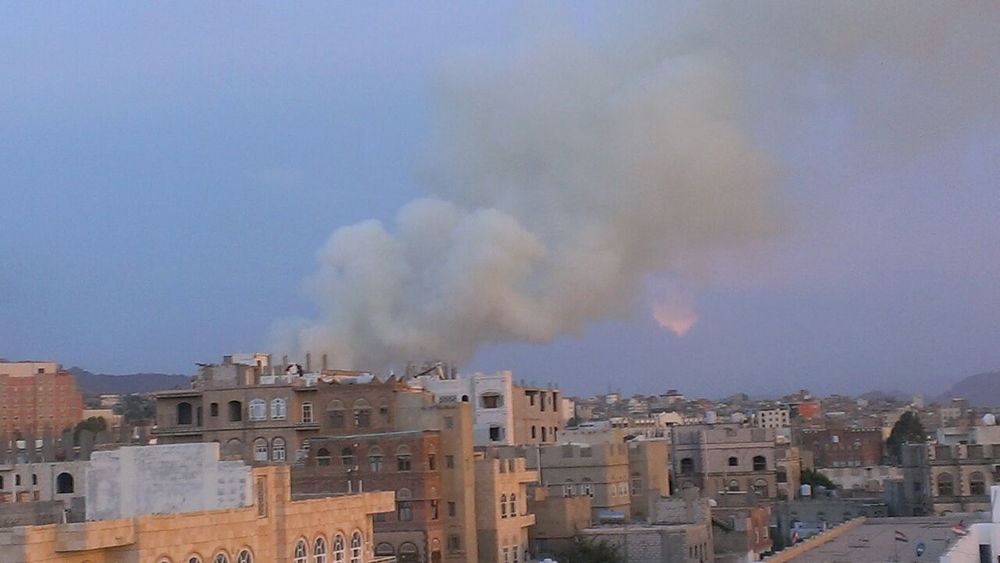 Smoke billows out after an explosion in the Noqum Mountain area of Sanaa, Yemen, early evening Monday 11 May, 2015. Airstrikes (believed to be from Saudi planes) hit a weapons supply in the area. The weapons supply belonged to the army, factions of which