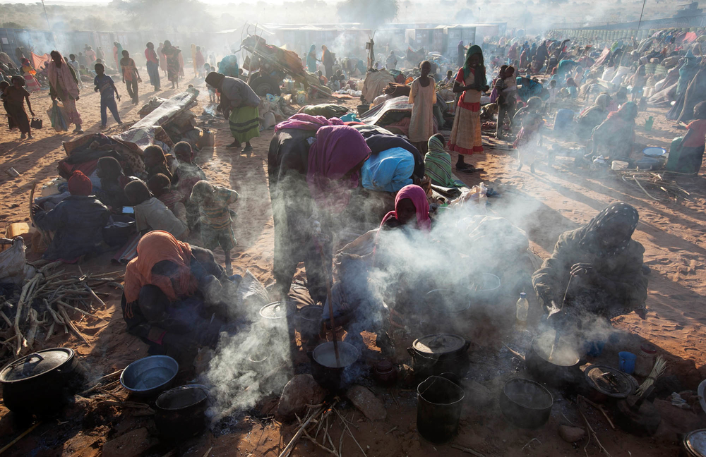 27 January 2015. Um Baru: Thousands of people, mostly women and children, take refuge at a safe zone adjacent to UNAMID's base in Um Baru, North Darfur.The newly displaced people fled from different villages which had been reportedly attacked. Photo by Ha