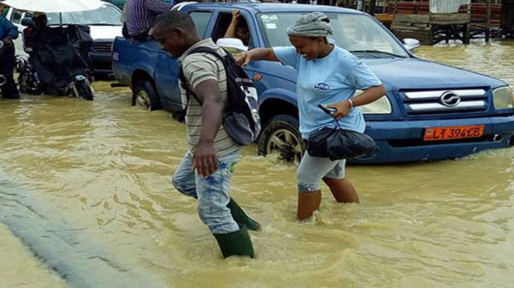 Days of heavy rain in June 2015 left the roads and buildings in Cameroon's Douala city flooded.