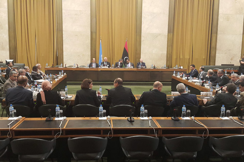 Participants at the latest round of the United Nations facilitated Libyan political dialogue which concluded in Geneva on 12 August 2015.