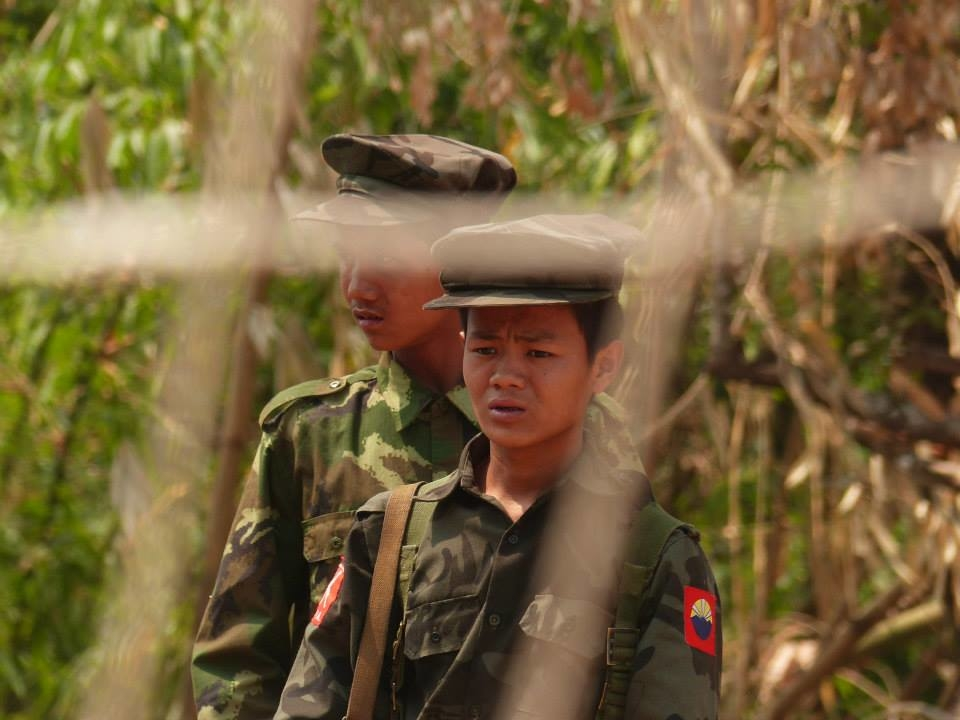 Kachin Independence Army soldiers at a checkpoint near their capital Laiza in April 2015