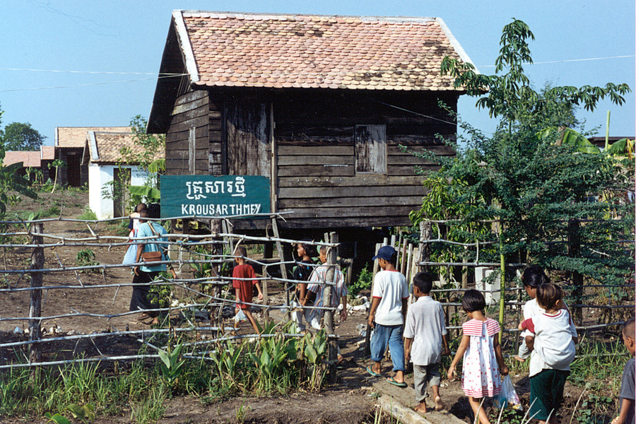 Return of fourteen unaccompanied Cambodian children, trafficked to Thailand to beg on the street, at the Krousar Thmey compound. There are twenty-five houses like this inside the compound. The size is about five metres square and can comfortably accommoda