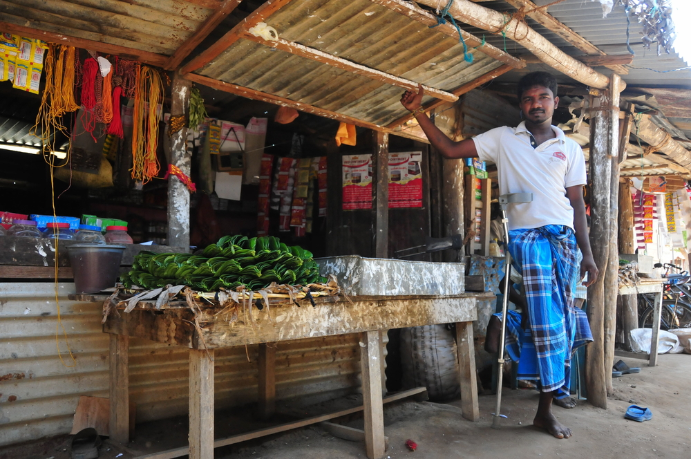 Mayuran Sivachandran, seen here in August 2015 in Mulaittivu District where fighting raged between Sri Lanka government forces and the Tamil Tigers, lost his leg in 2008 to a war-related injury.
