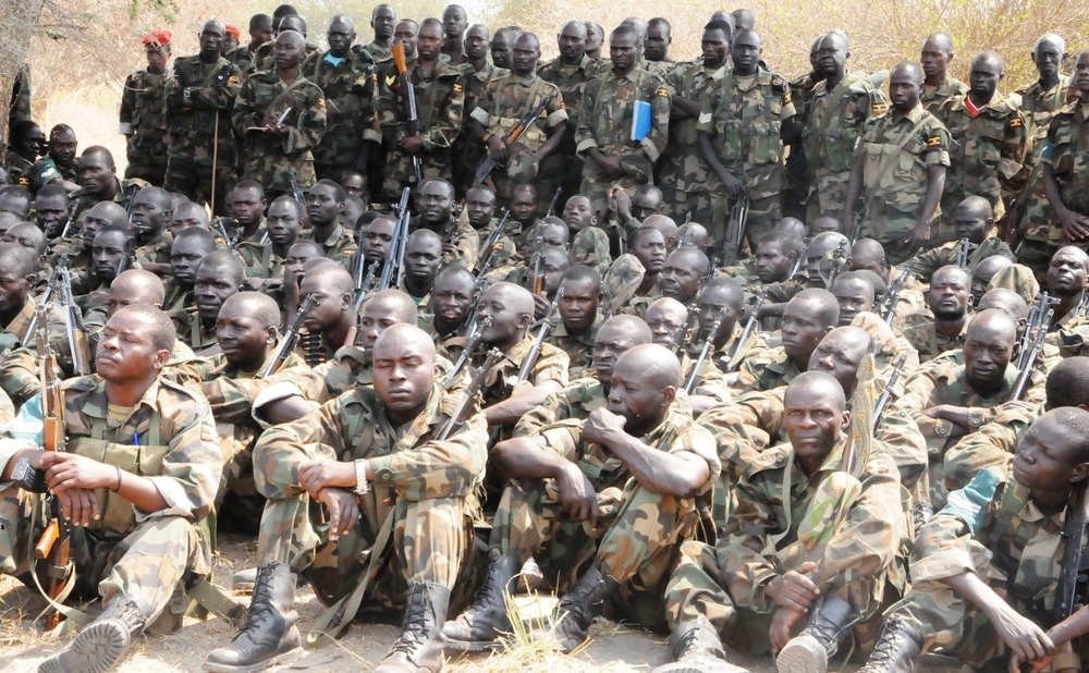 Ugandan troops listening to address by their commanders at their tactical headquarters in Bor, Jonglei, State, South Sudan