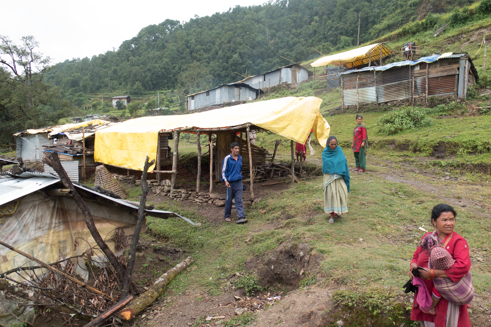 Displaced people living in a temporary camp in October 2015 in Nepal's Dolakha district, which was at the epicentre of an earthquake on 25 April 2015