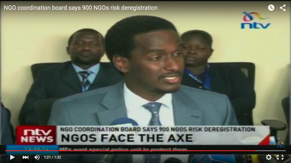 NGO Coordination Board's CEO, Fazul Mohamed Yusuf  making the announcement regarding NGO deregulation to a press conference in Nairobi