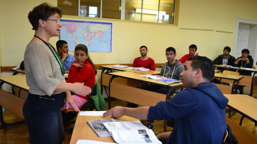 German language teacher, Marita Fischer leads an intermediate German class for refugees and asylum seekers in Pirna, Saxony