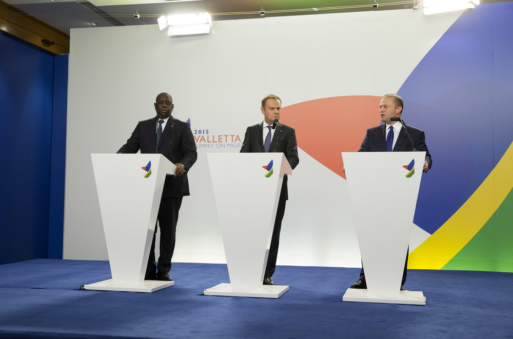 From left to right, Macky Sall, President of Senegal, Donald Tusk, President of the European Council and Joseph Muscat, Maltese Prime Minister at the Valletta Summit on migration