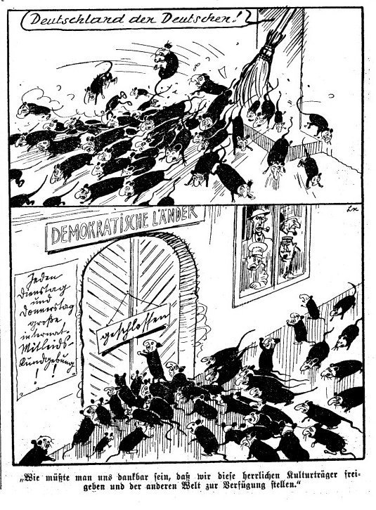Cartoon depicting Jewish refugees as rats, thrown out of Germany and Nazi occupied territories, denied entry to Europe, published in an Austrian newspaper Das Kleine Blatt in 1939.