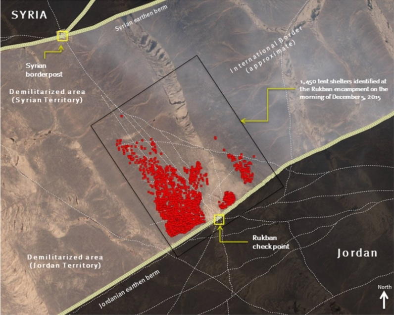 Satellite image of Syrian asylum seeker encampment, Rukban, Jordan. Image taken on morning of December 5, 2015 and included in a Human Rights Watch report Satellite Image: © CNES 2015 / Distribution Airbus DS