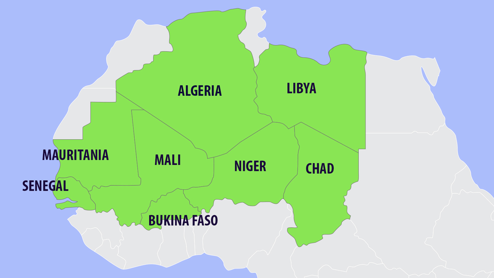 Map of AQIM affected countries in the Sahel