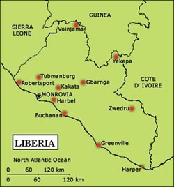 Country Map - Liberia. The situation in the Mano River has displaced thousands of people
