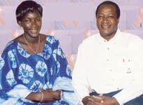 [Burkina Faso] President Blaise Campaore with a women living with AIDS