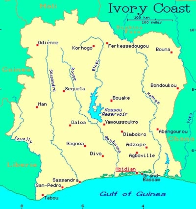 Country Map - Cote D'Ivoire (Ivory Coast)
