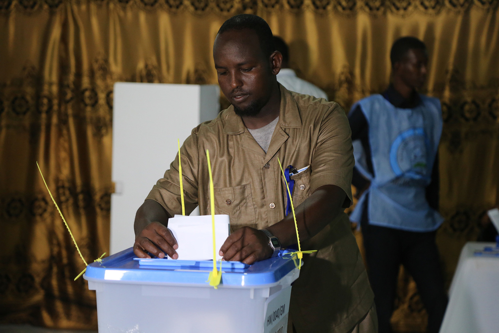 Photo of voting in Somalia's 2016 presidential elections