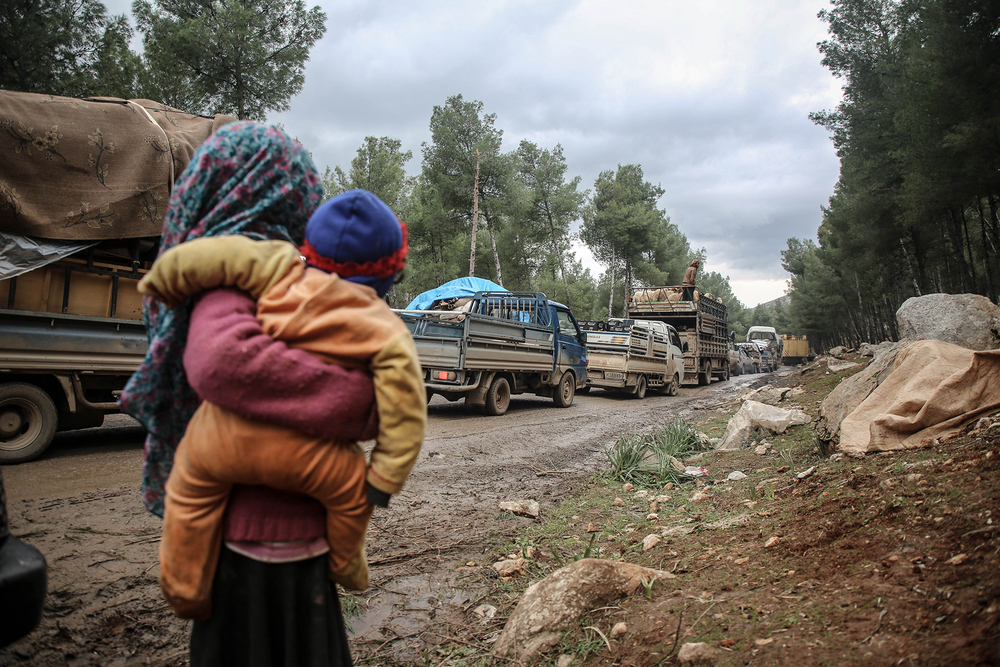 Image of families fleeing southern Idlib province on 7 February 2020