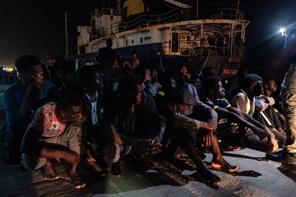 African migrants at Tripoli's navy base