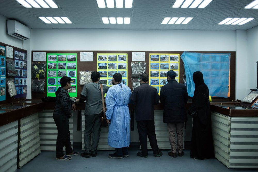 The image shows a line of people looking at pinned images on a hospital wall, their backs to the camera.