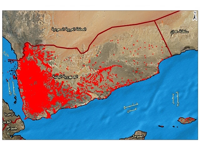 A map of Yemen with many red dots