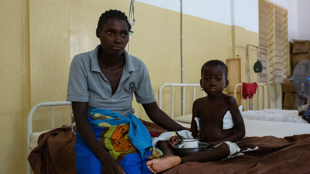 A malnourished child receives treatment at a hospital in cyclone-hit Dondo, in central Mozambique.