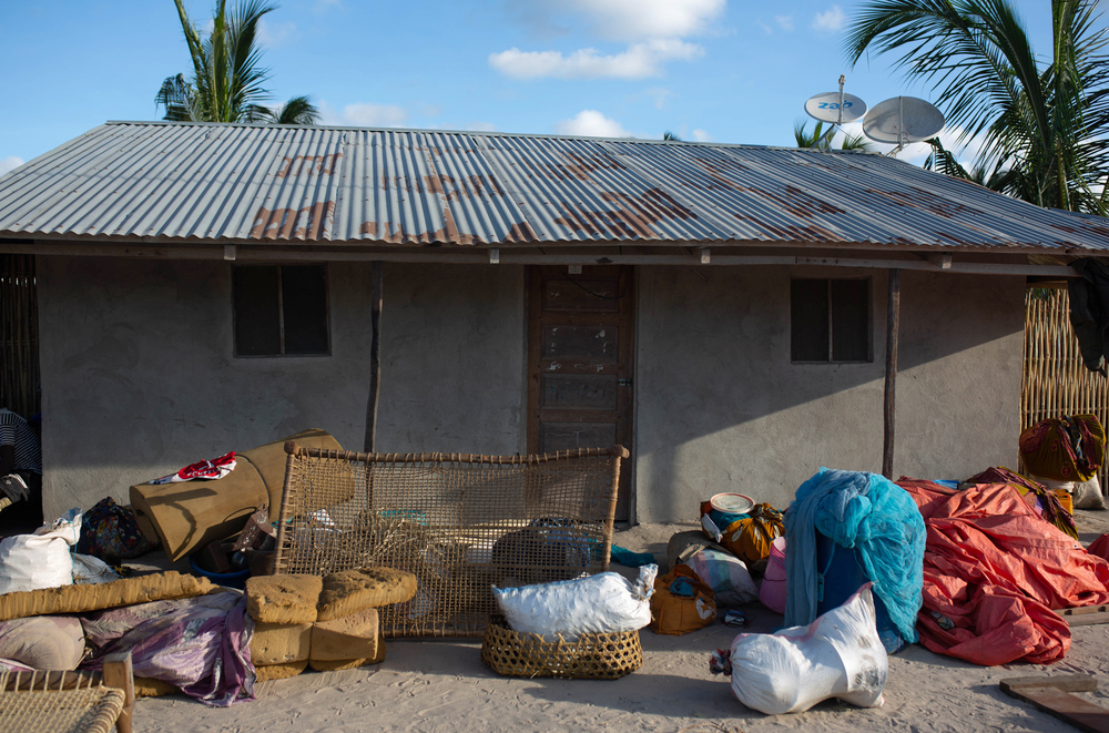 Sponge mattresses and sacks of maize are among the items salvaged by displaced families who fled their village in Cabo Delgado last November.