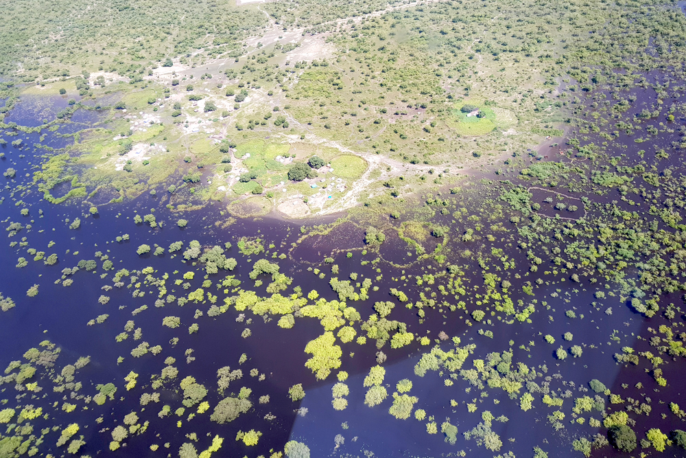 Aerial view of flooding in South Sudan