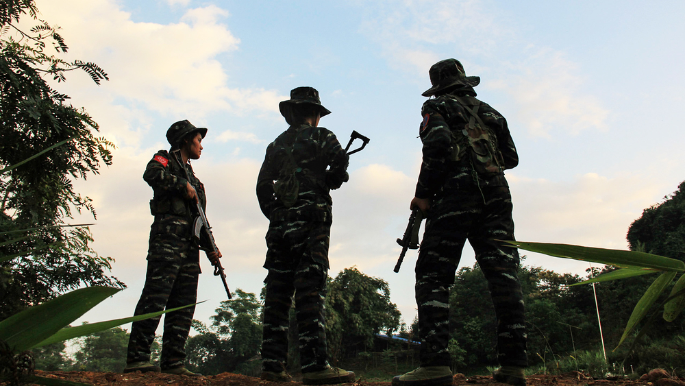 A photo of women training for combat at the Arakan Army headquarters in northern Myanmar. Many of Myanmar's armed groups recruit women, but female soldiers are often given subordinate roles