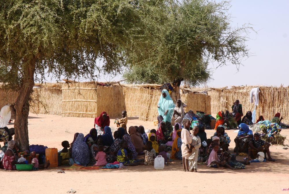 A group of Nigerian refugees finds shade under a tree in Niger's Diffa. More than 250,000 displaced people are hosted in the region.